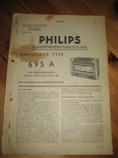 Phillips sercice dokumentasjon for EMPFANGER 695A. 1936.