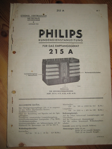 Phillips sercice dokumentasjon for 215A. 1938.