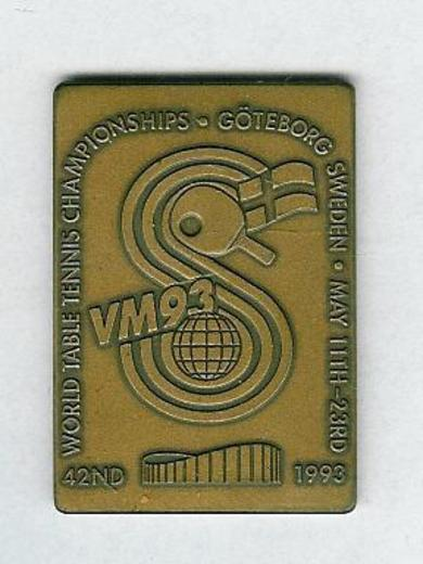 "1993, Medalje i kobber, ""42ND WORLD TABLE TENNIS CHAMPIONSHIP- GØTEBORG MAY 11TH-23RD ,1993""."